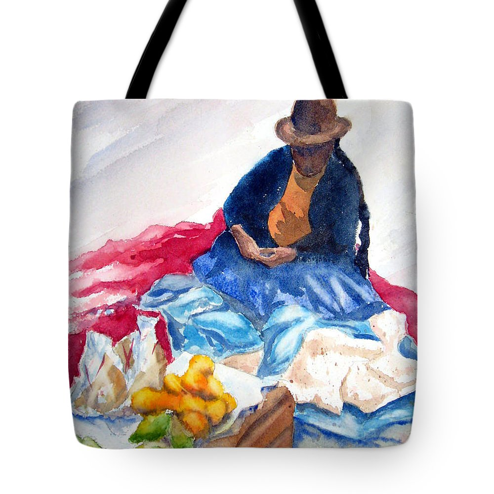 Cuzco Tote Bag featuring the painting Cuzco Market by Marsha Elliott