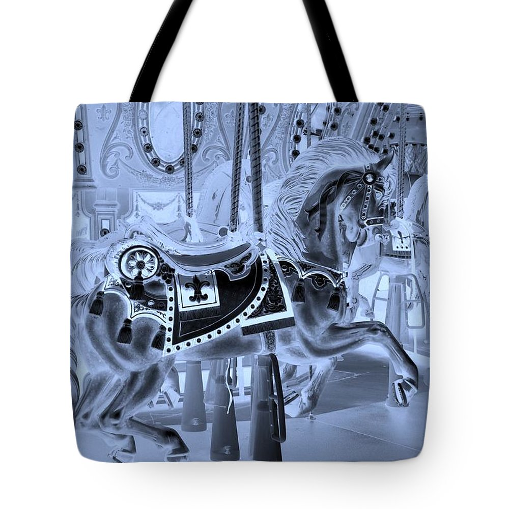 Carousel Tote Bag featuring the photograph Cyan Horse by Rob Hans