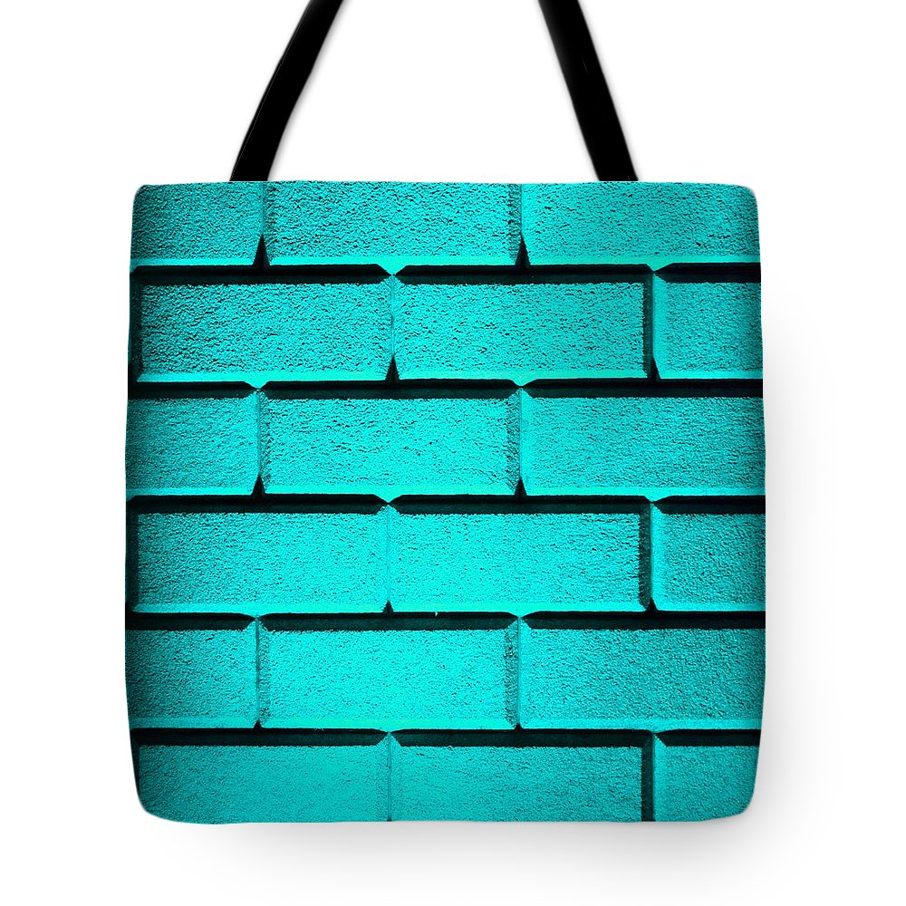 Cyan Tote Bag featuring the photograph Cyan Wall by Semmick Photo