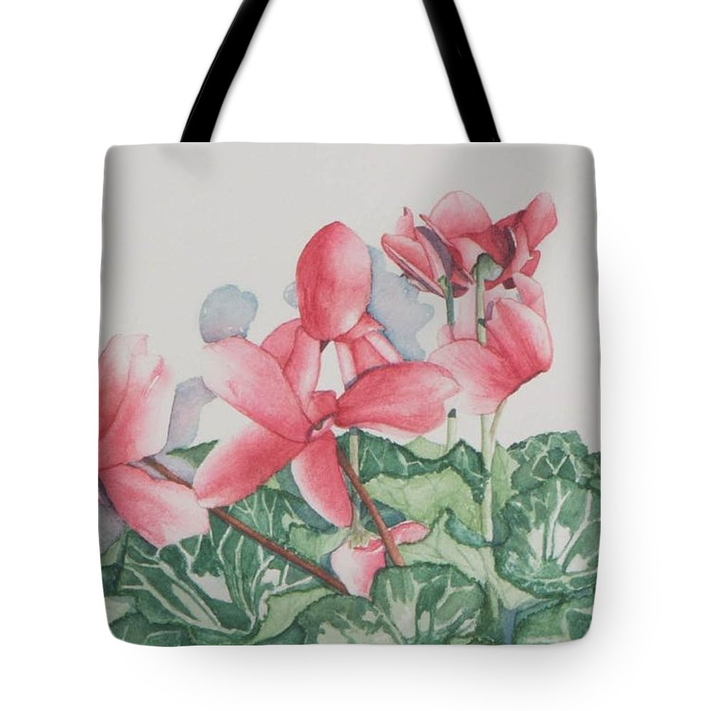 Flower Tote Bag featuring the painting Cyclamen by Sandra Neumann Wilderman