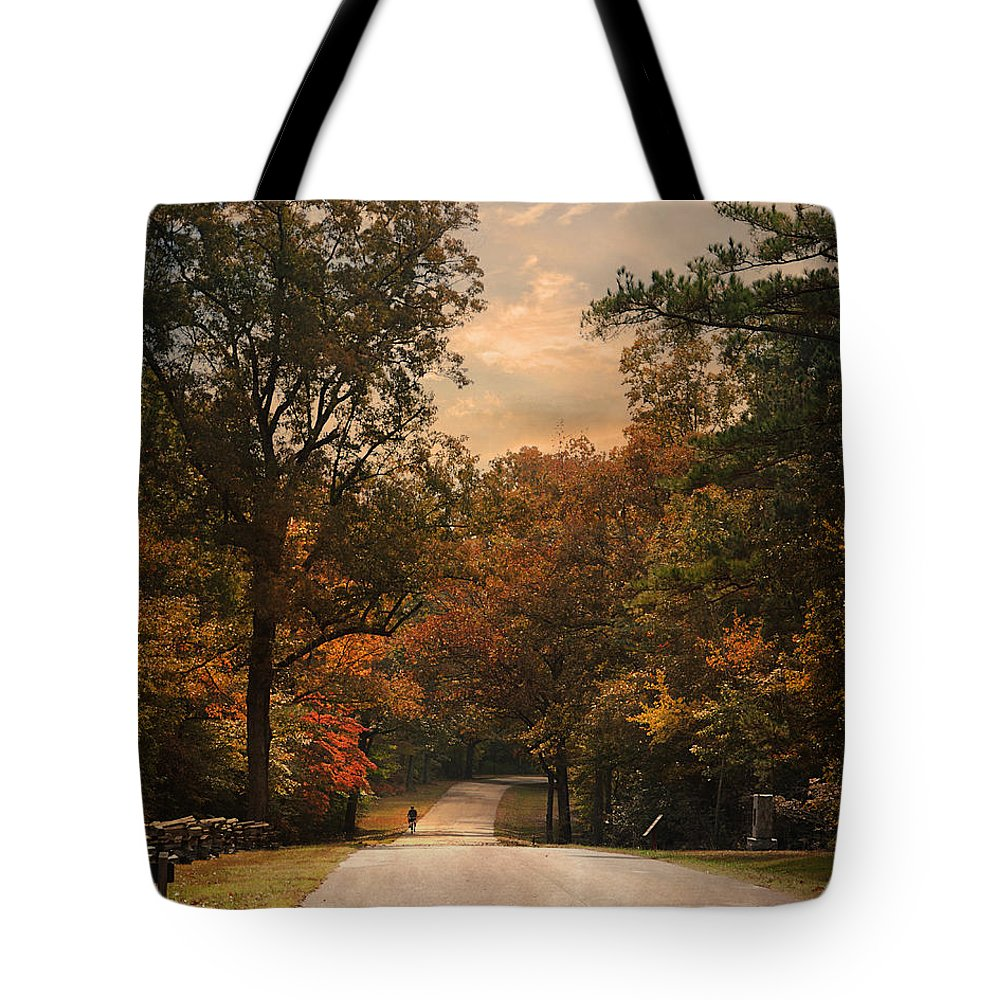 Autumn Tote Bag featuring the photograph Cycling Season by Jai Johnson