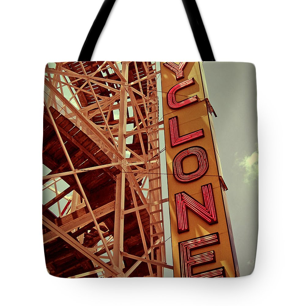 Cyclone Tote Bag featuring the digital art Cyclone Roller Coaster - Coney Island by Jim Zahniser