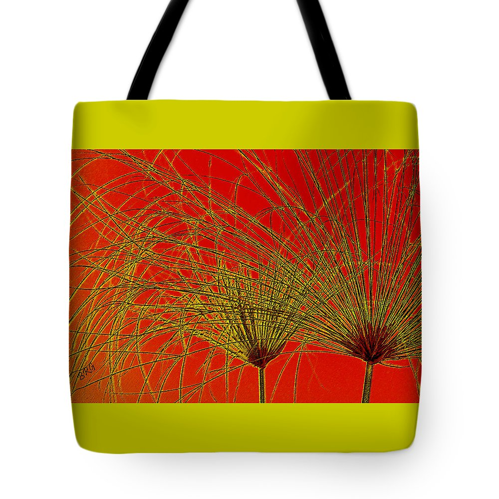 Red Abstract Tote Bag featuring the photograph Cyperus Papyrus Abstract by Ben and Raisa Gertsberg