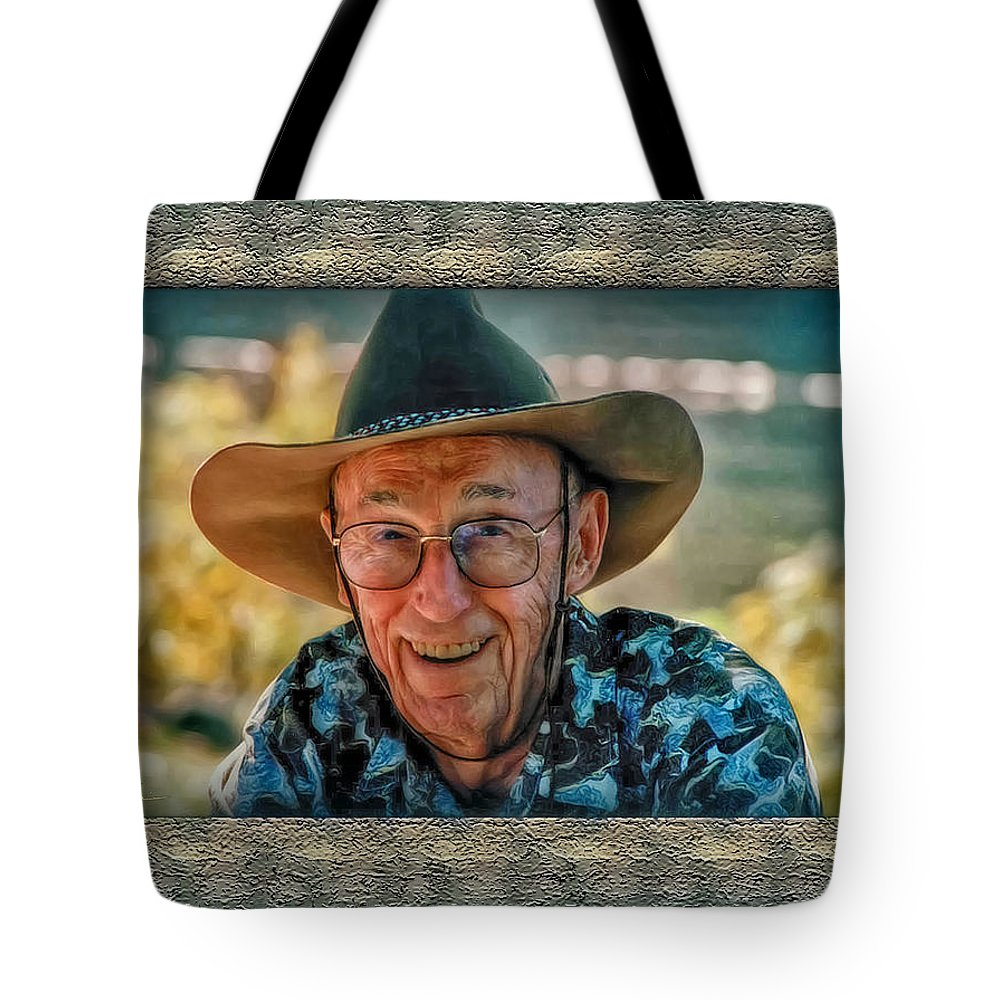 Swiss Cow Boy Tote Bag featuring the photograph Dad In Cowboy Mood by Hanny Heim