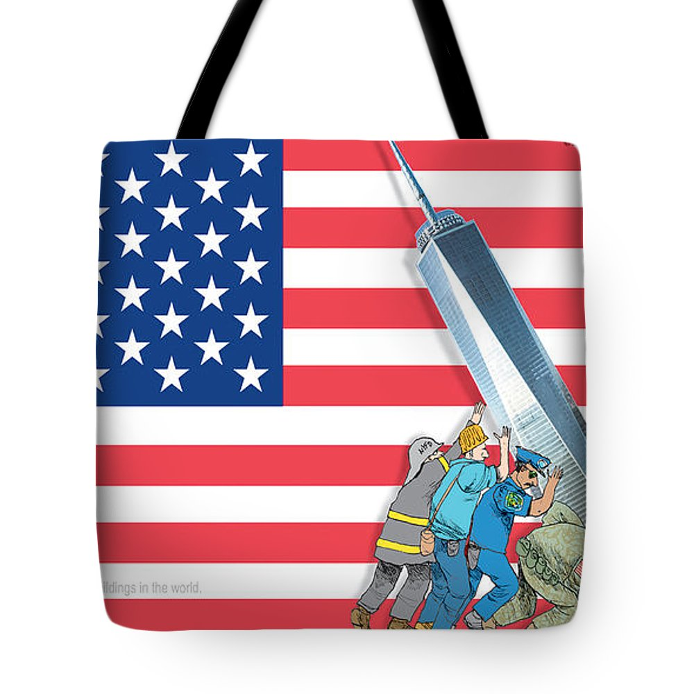 Daddys Home Tote Bag featuring the painting Daddys Home 9/11 Tribute by Tony Rubino