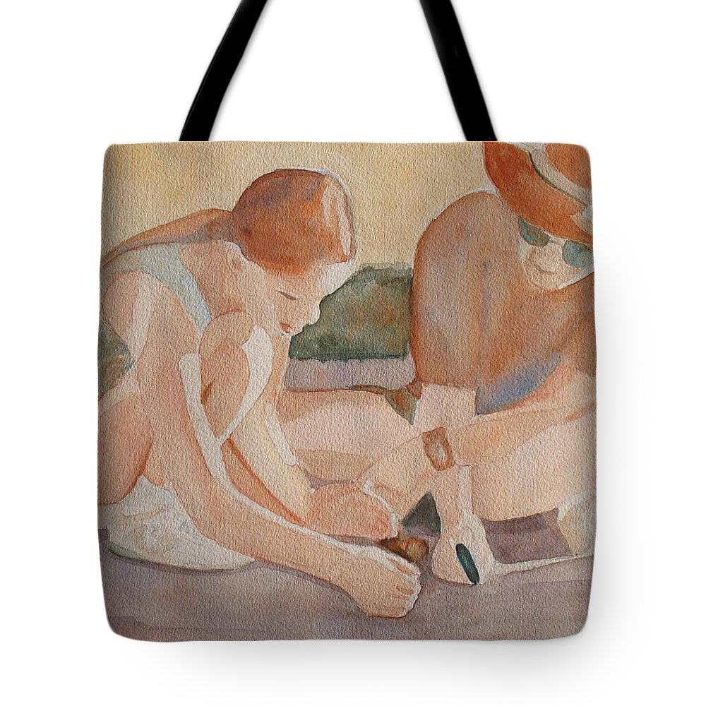 Girl Tote Bag featuring the painting Daddy's Magnifying Glass by Jenny Armitage