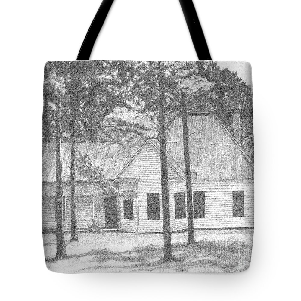Home Tote Bag featuring the drawing Dad's Homeplace by Lew Davis