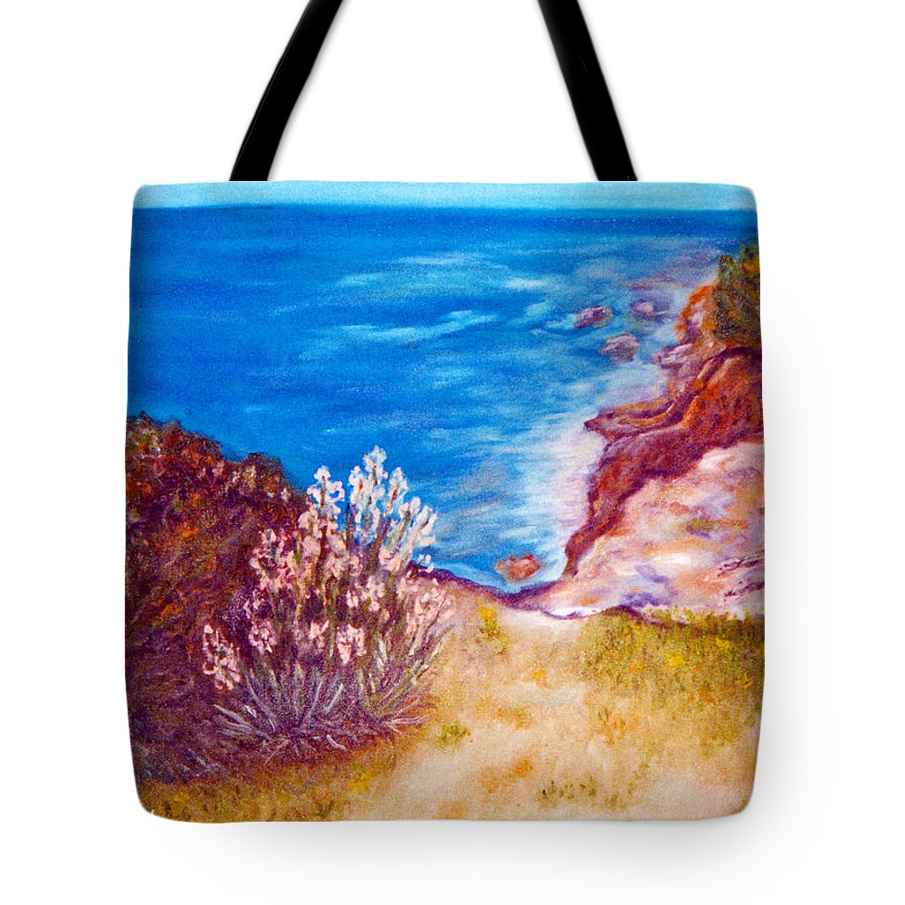 Augusta Stylianou Tote Bag featuring the painting Daffodils At The Beach by Augusta Stylianou