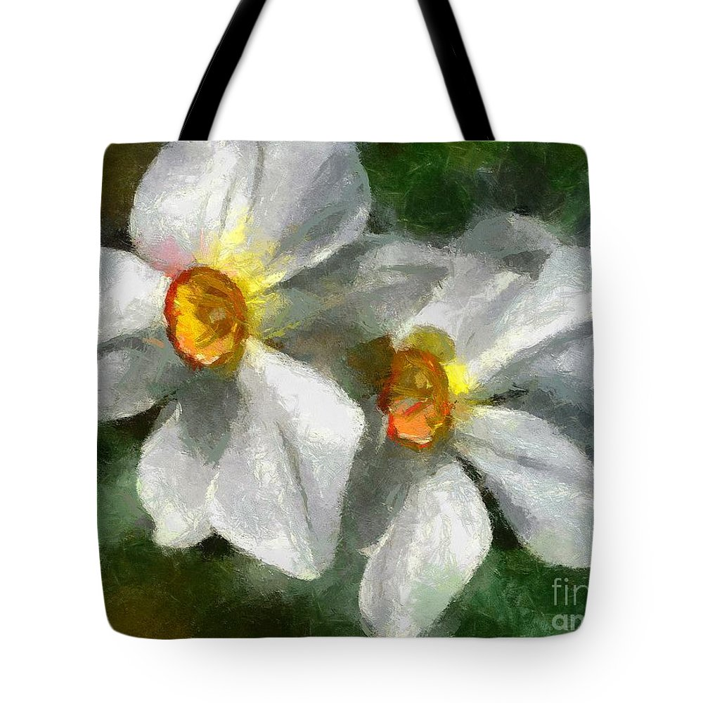 Spring Tote Bag featuring the painting Daffodils by Dragica Micki Fortuna