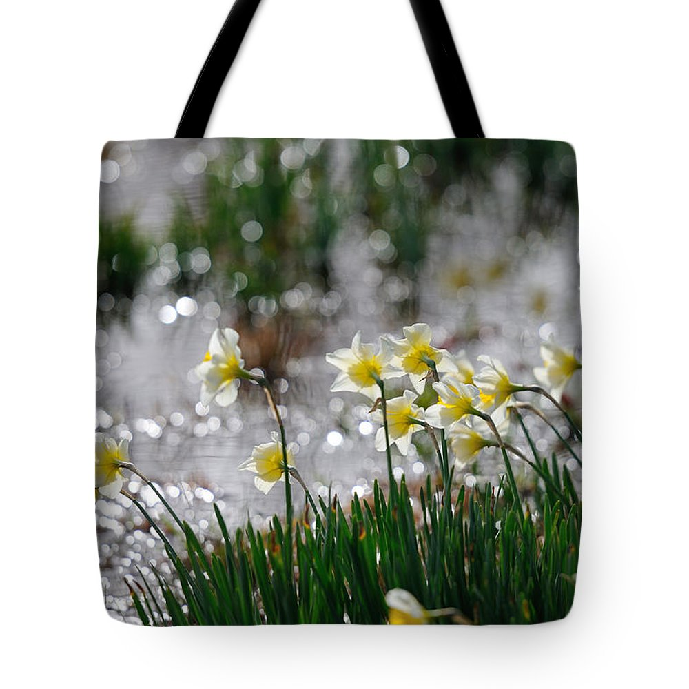 Daffodil Tote Bag featuring the photograph Daffodils On The Shore by Patrick Herrera