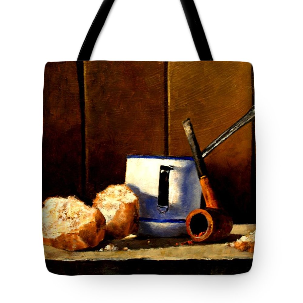 Still Life Tote Bag featuring the painting Daily Bread Ver 1 by Jim Gola