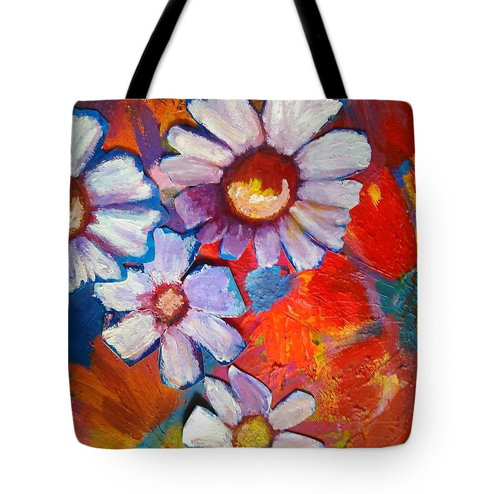 Floral Tote Bag featuring the painting Daisies And Strawberries 2014 by Sidra Myers