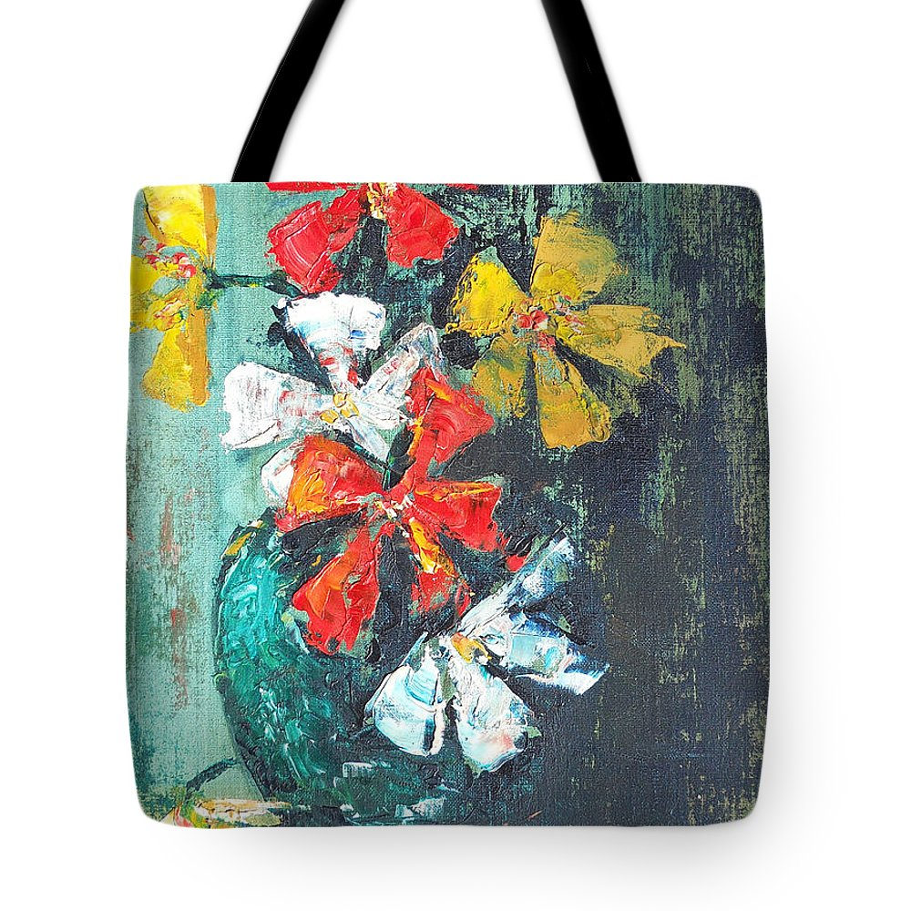 Flowers Tote Bag featuring the painting Daisies In A Green Vase by Olga Kaczmar