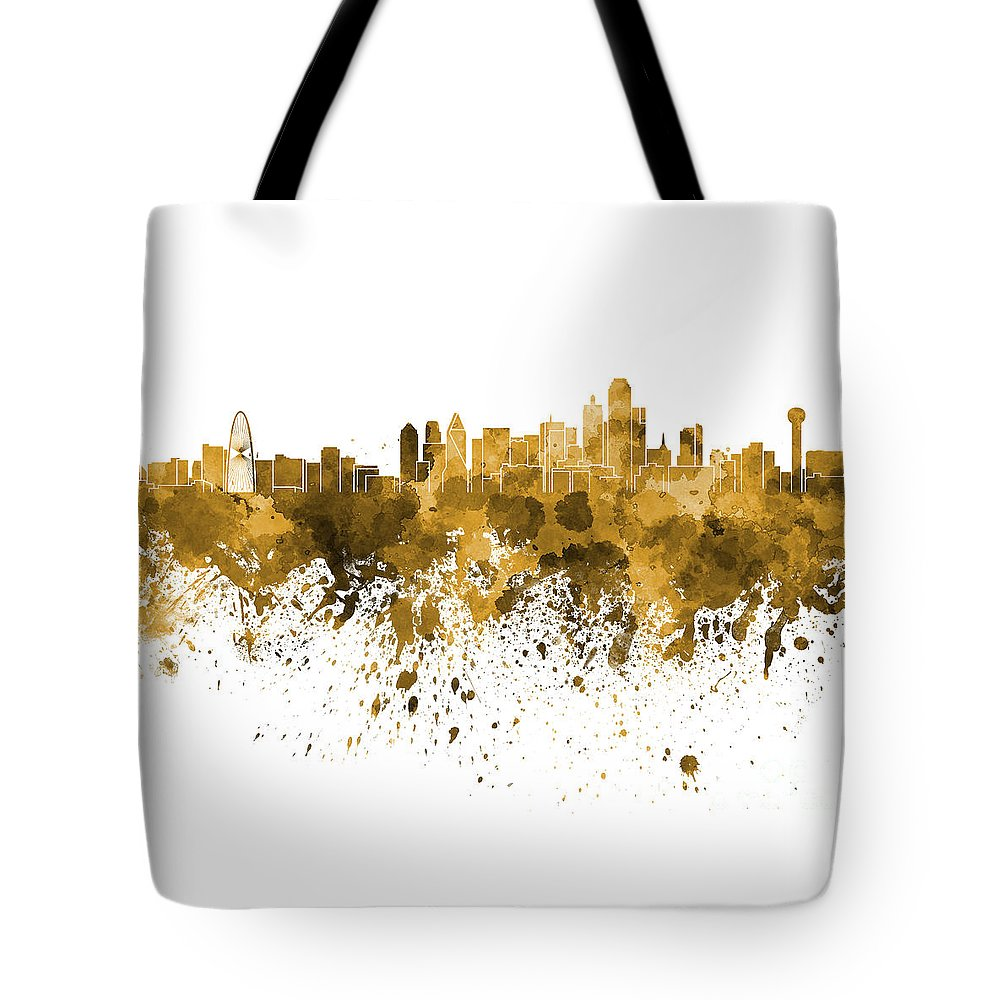 Dallas Skyline Tote Bag featuring the painting Dallas Skyline In Orange Watercolor On White Background by Pablo Romero