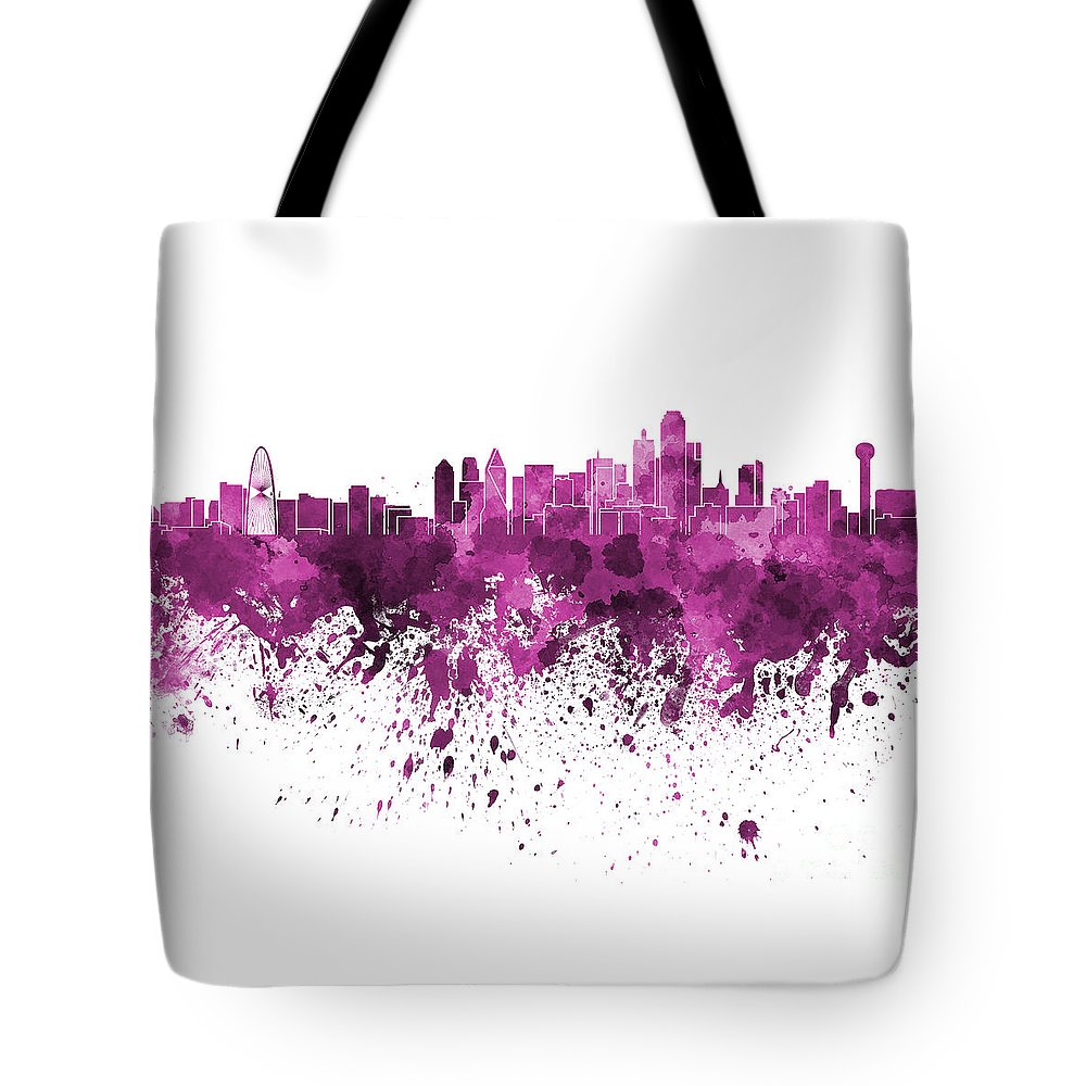 Dallas Skyline Tote Bag featuring the painting Dallas Skyline In Pink Watercolor On White Background by Pablo Romero