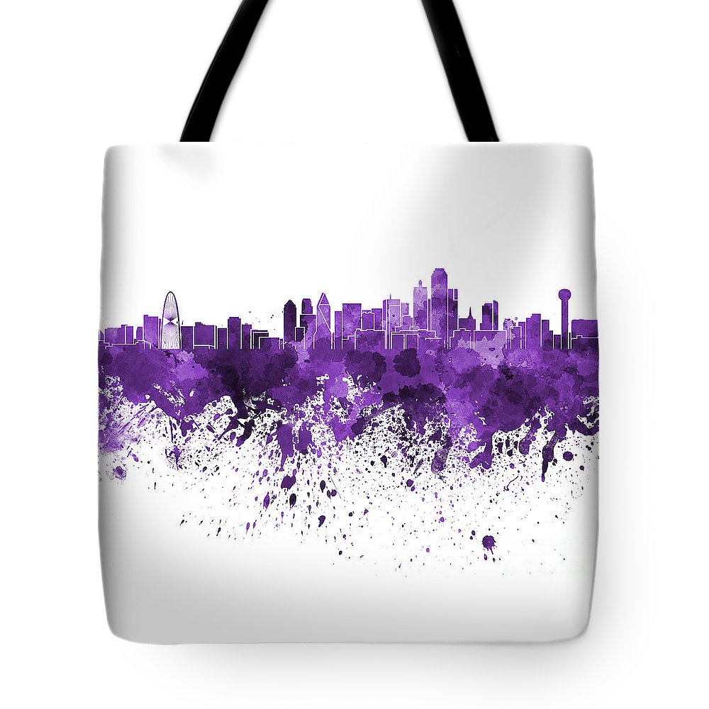 Dallas Skyline Tote Bag featuring the painting Dallas Skyline In Purple Watercolor On White Background by Pablo Romero