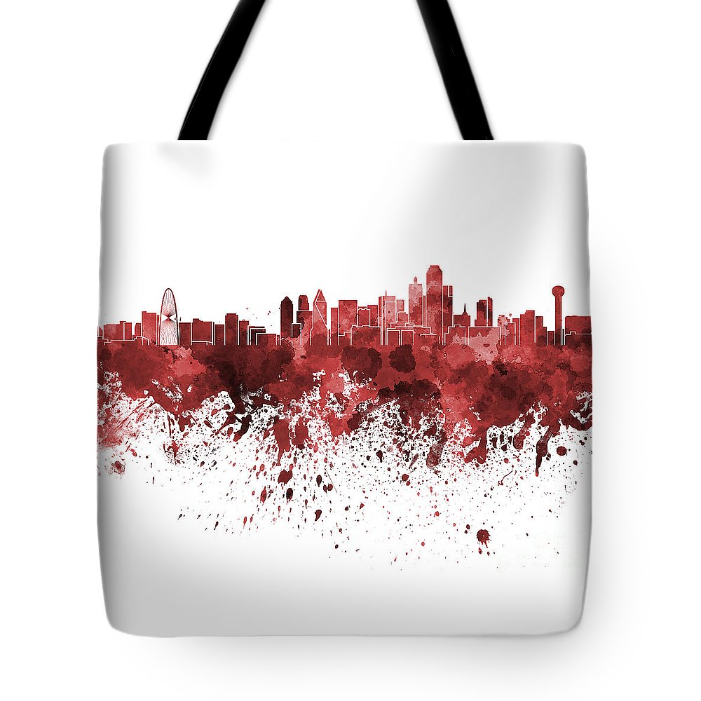 Dallas Skyline Tote Bag featuring the painting Dallas Skyline In Red Watercolor On White Background by Pablo Romero