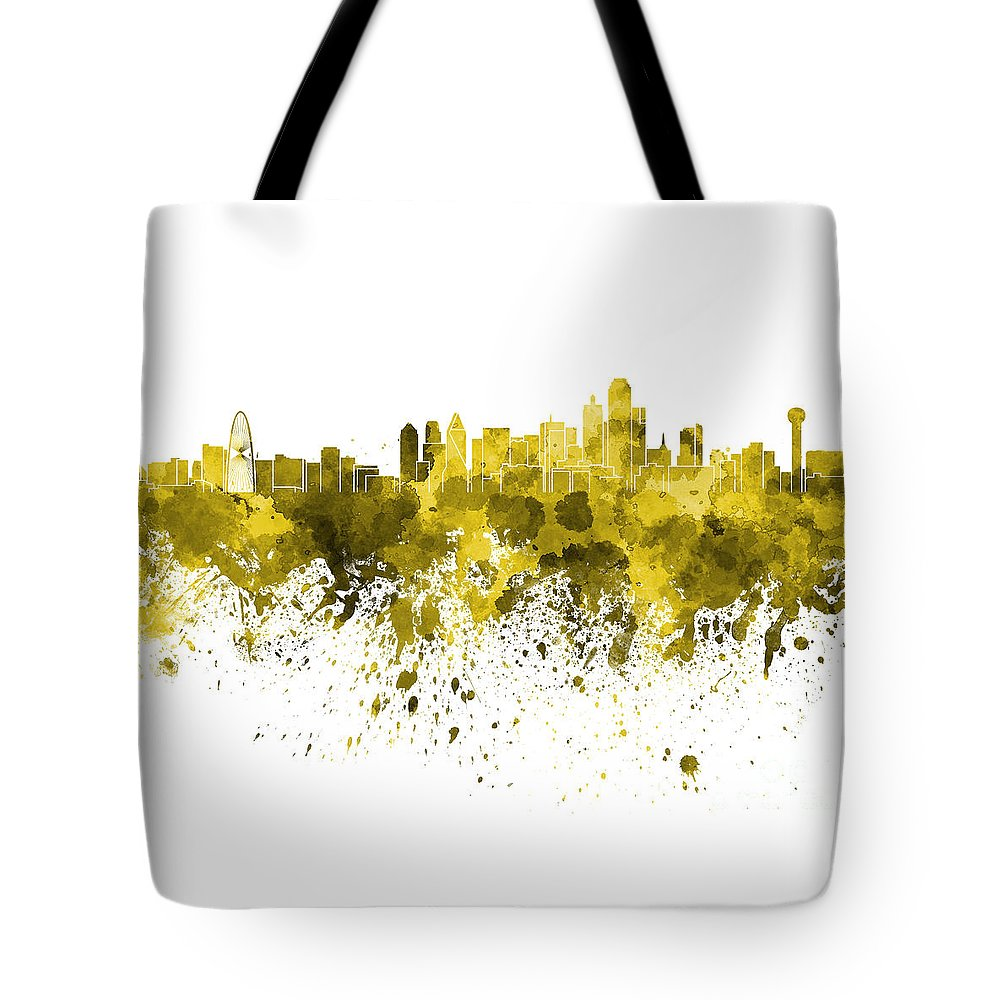 Dallas Skyline Tote Bag featuring the painting Dallas Skyline In Yellow Watercolor On White Background by Pablo Romero