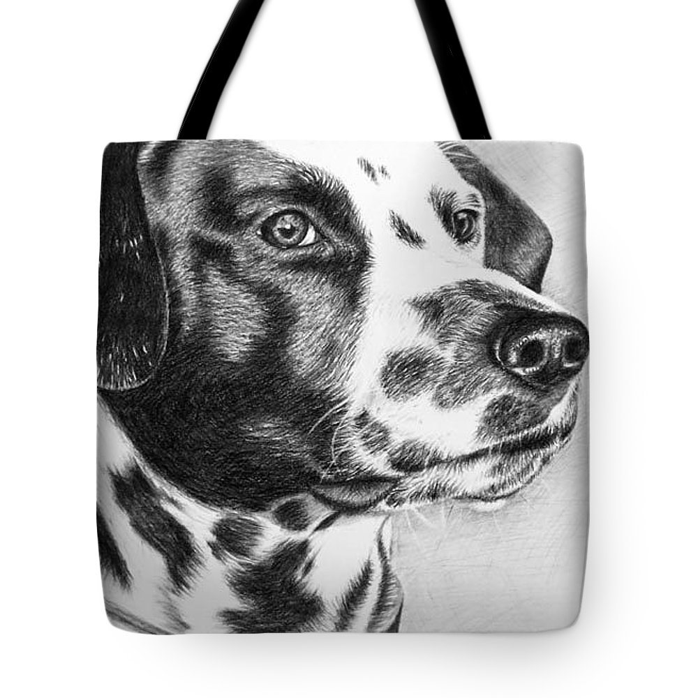 Dog Tote Bag featuring the drawing Dalmatian Portrait by Nicole Zeug