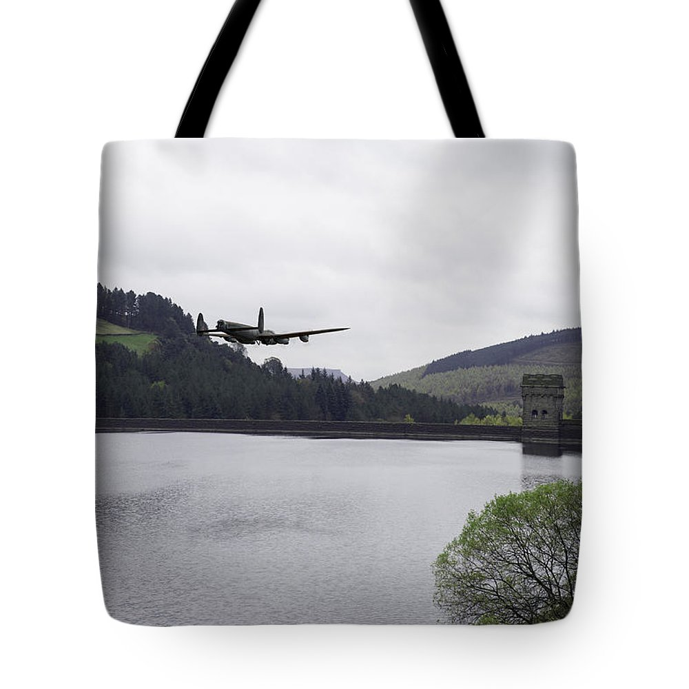 Dambusters Lancaster Tote Bag featuring the photograph Dambusters Lancaster At The Derwent Dam by Gary Eason