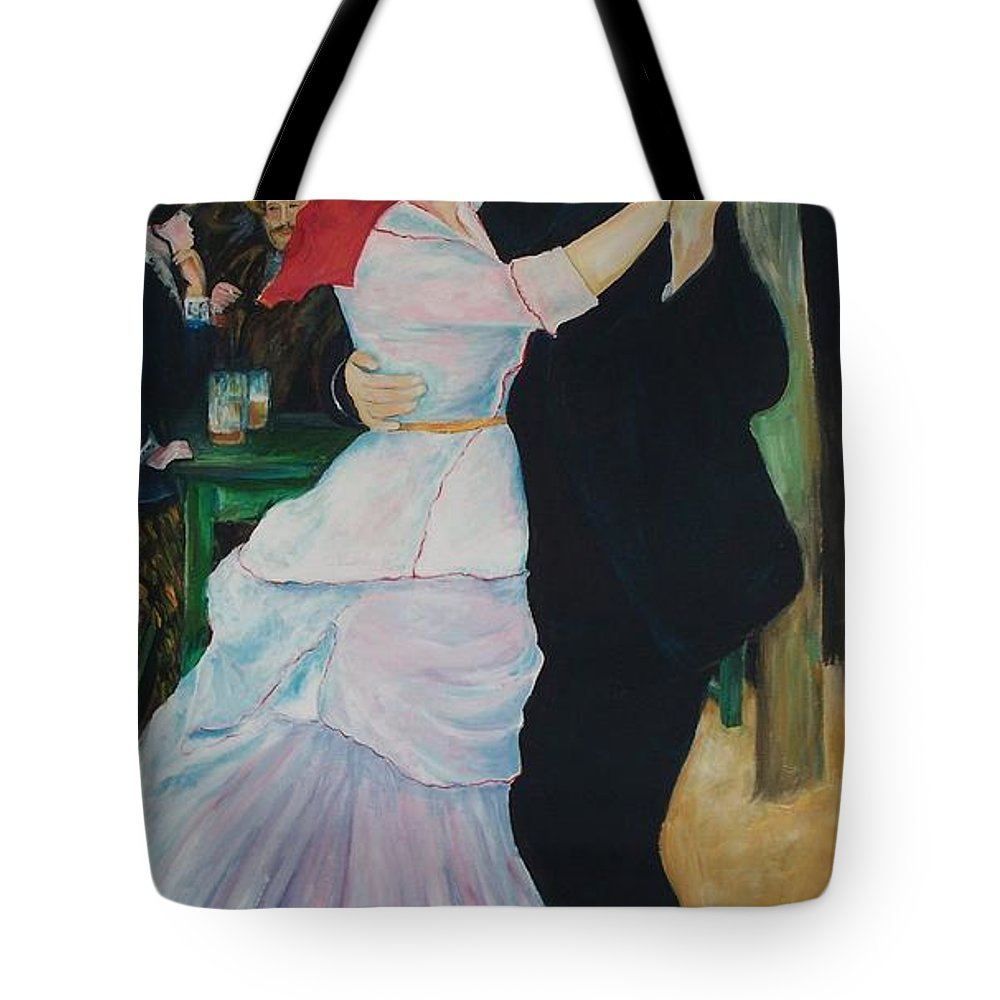 Impressionism Tote Bag featuring the painting Dance At Bougival Renoir by Eric Schiabor