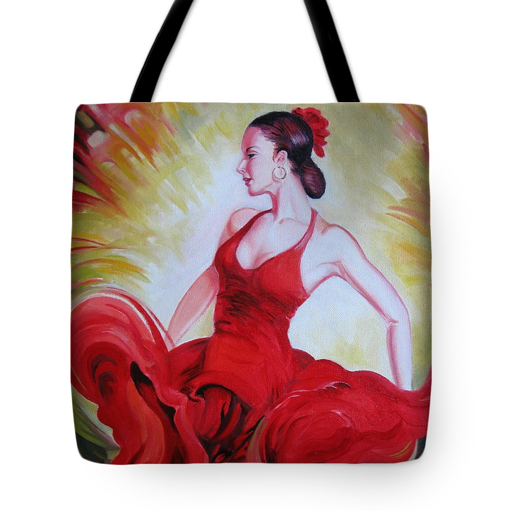 Woman Tote Bag featuring the painting Dance by Elena Oleniuc