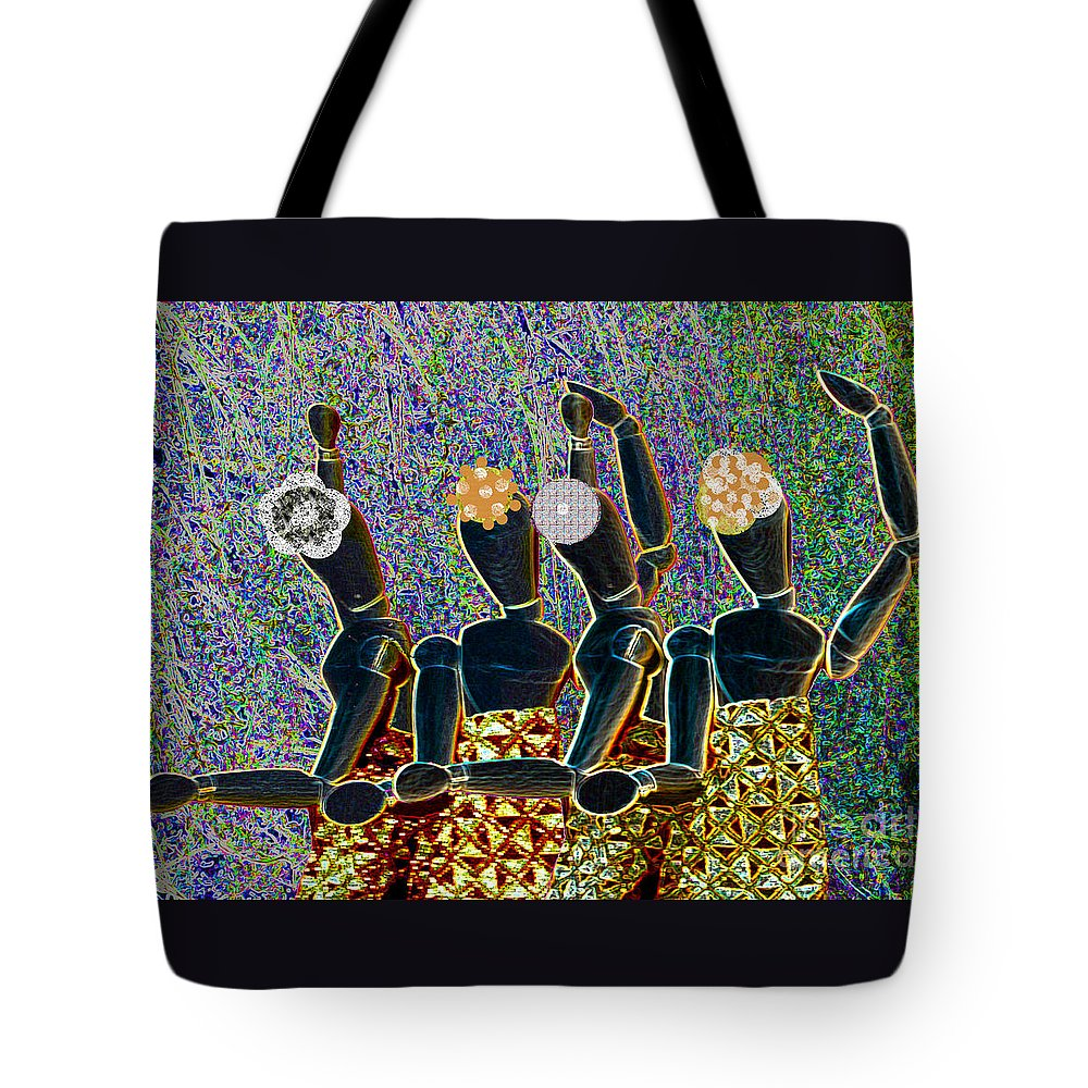 Dance Tote Bag featuring the mixed media Dance Party by Nareeta Martin