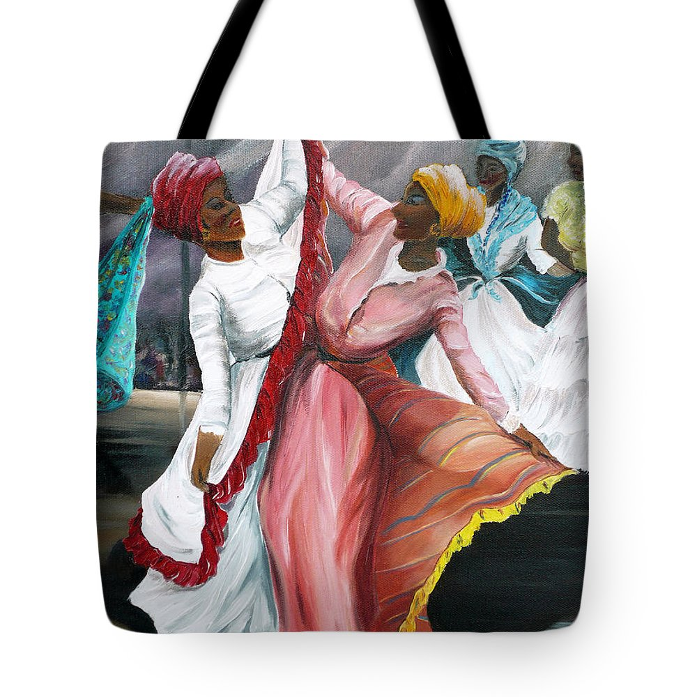 Dancers Folk Caribbean Women Painting Dance Painting Tropical Dance Painting Tote Bag featuring the painting Dance The Pique 2 by Karin Dawn Kelshall- Best