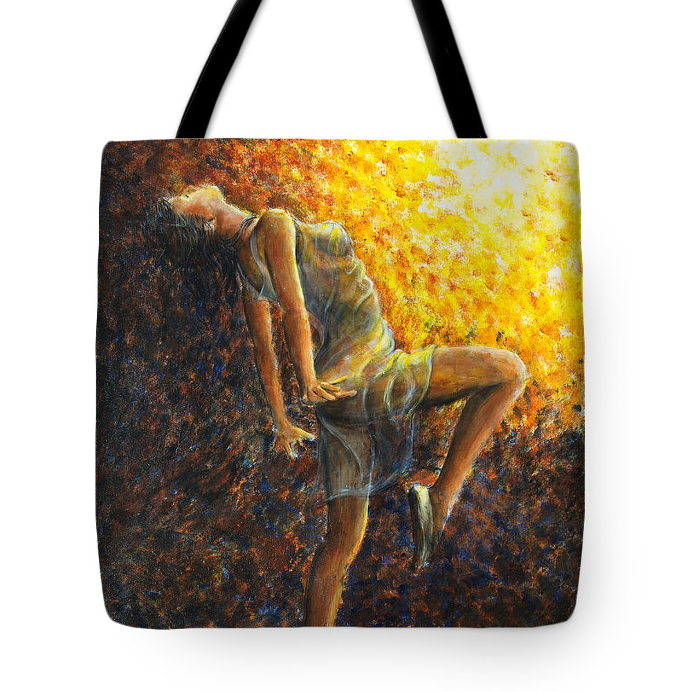 Dancer Tote Bag featuring the painting Dancer Ix by Nik Helbig