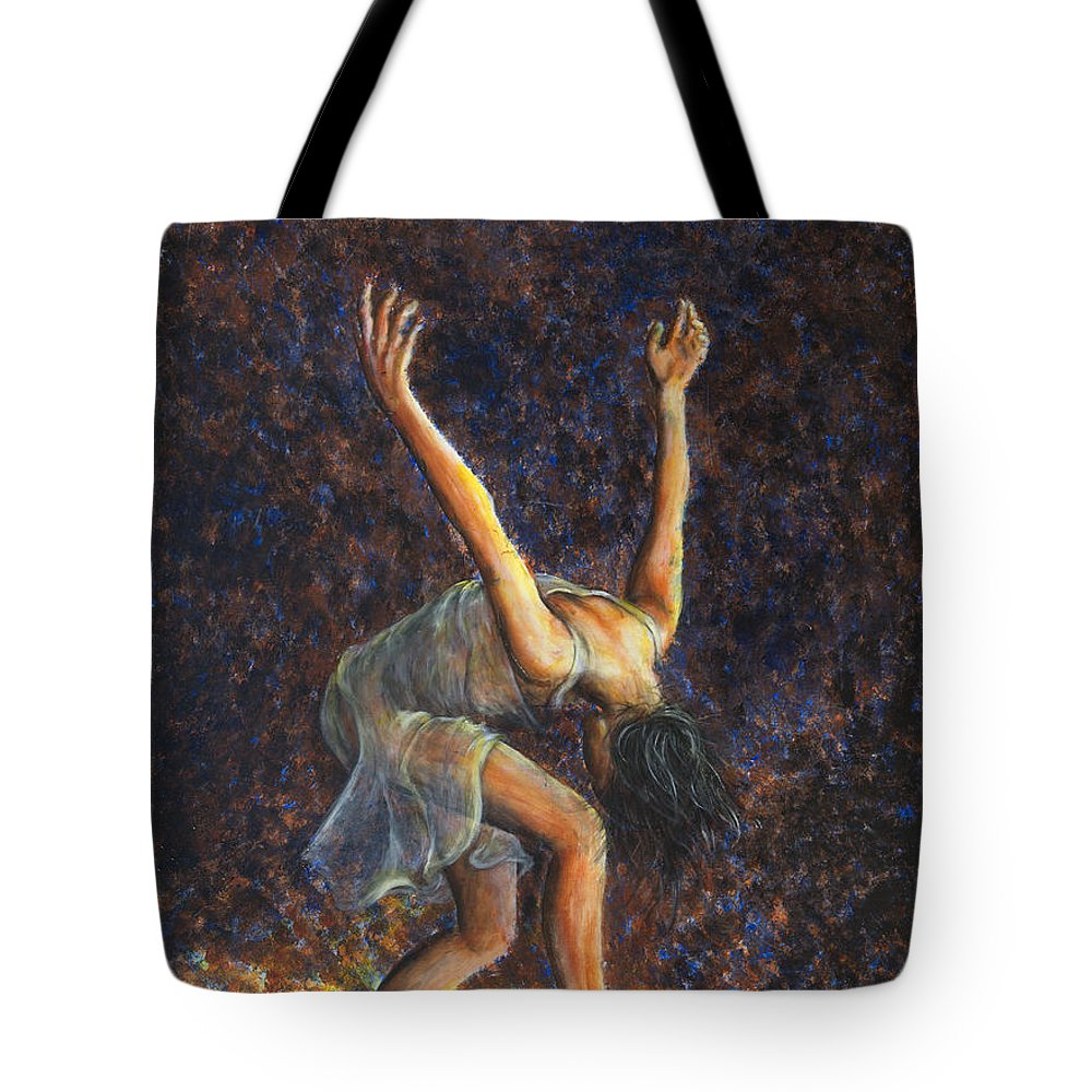 Dancer Tote Bag featuring the painting Dancer Viii by Nik Helbig