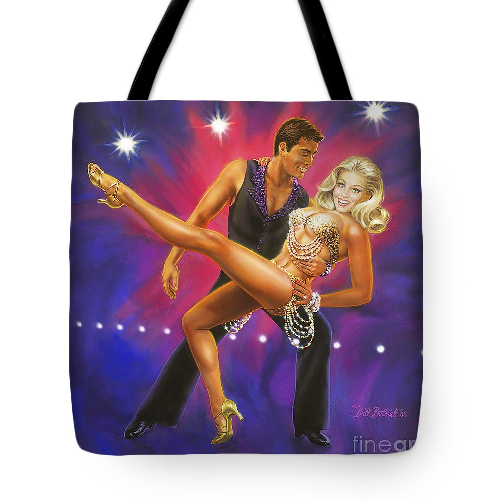Music Tote Bag featuring the painting Dancer's Fantasy by Dick Bobnick