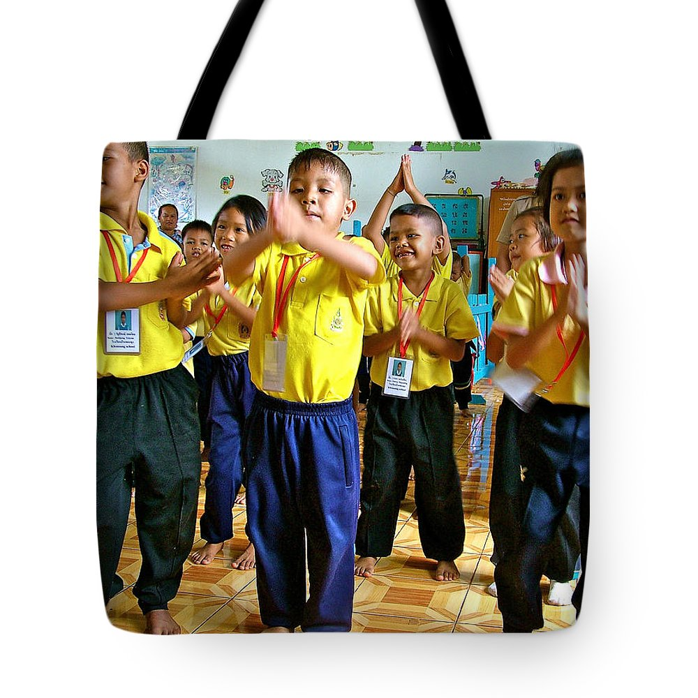 Dancing Kindergarten Students At Baan Konn Soong School In Sukhothai Tote Bag featuring the photograph Dancing Kindergarten Students At Baan Konn Soong School In Sukhothai-thailand by Ruth Hager