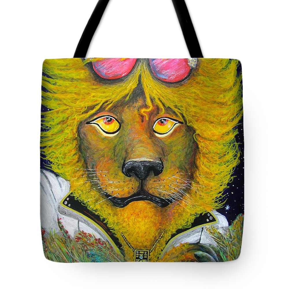 Serengeti Tote Bag featuring the mixed media Dancing King Of The Serengeti Discotheque by John Foss