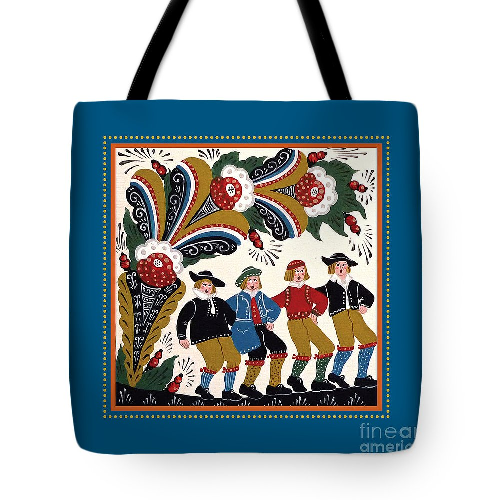 Swedish Folk Art Tote Bag featuring the painting Dancing Men 4 by Leif Sodergren