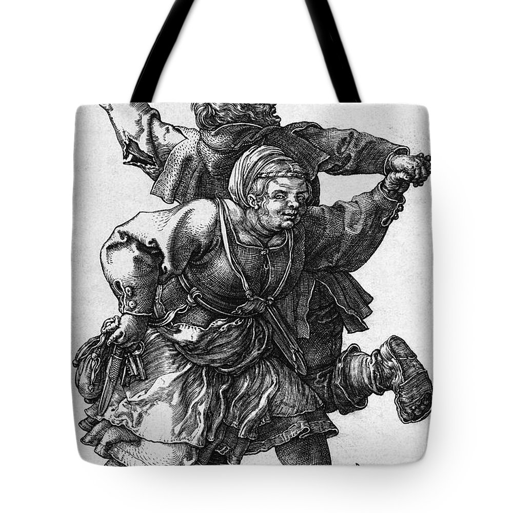 Durer Tote Bag featuring the photograph Dancing Peasants 1514 - Albrecht Durer by Daniel Hagerman
