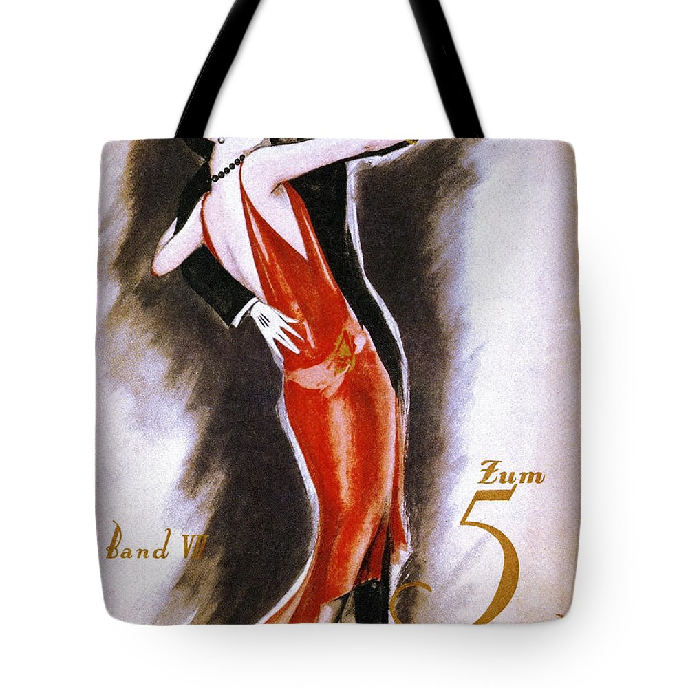 1926 Tote Bag featuring the drawing Dancing The Tango by Granger