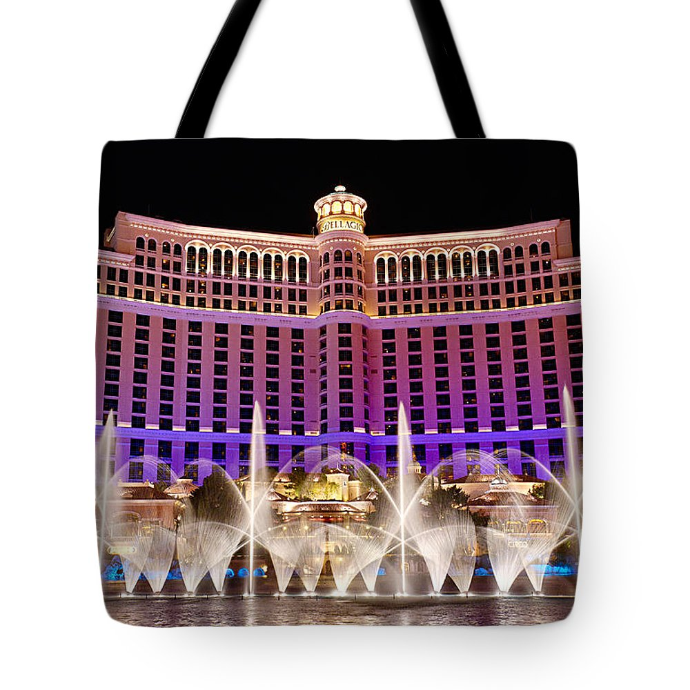 Bellagio Tote Bag featuring the photograph Dancing Waters - Bellagio Hotel And Casino At Night by Jamie Pham