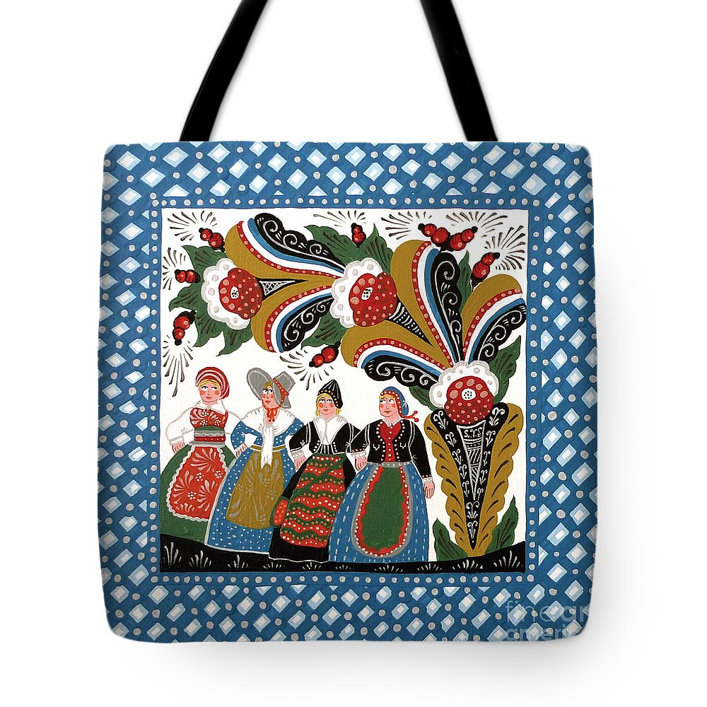 Dala Tote Bag featuring the painting Dancing Women by Leif Sodergren