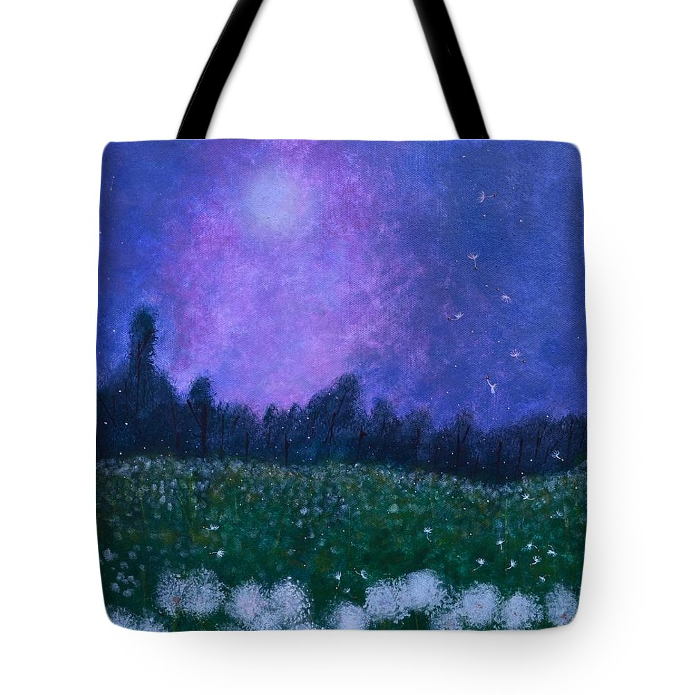 Dandelions Tote Bag featuring the painting Dandelion Dreams by Iris Forbes
