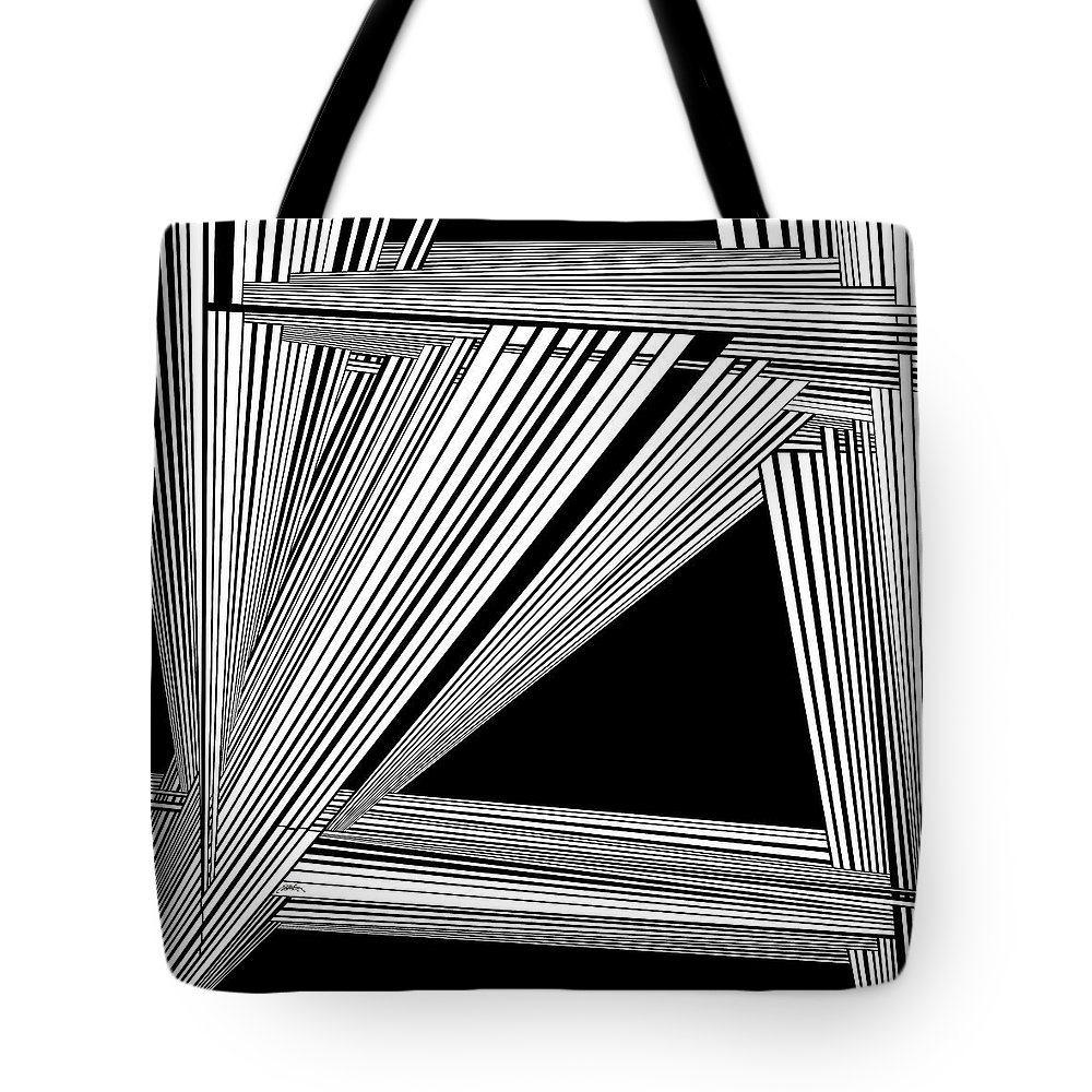 Black And White Tote Bag featuring the painting Danfancer by Douglas Christian Larsen