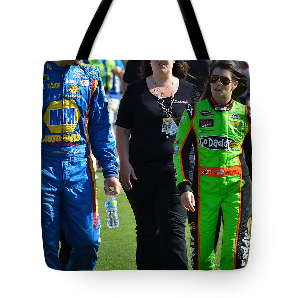 Nascar Drivers Tote Bag featuring the photograph Danica Patrick And Martin Truex Jr. by Mark Spearman