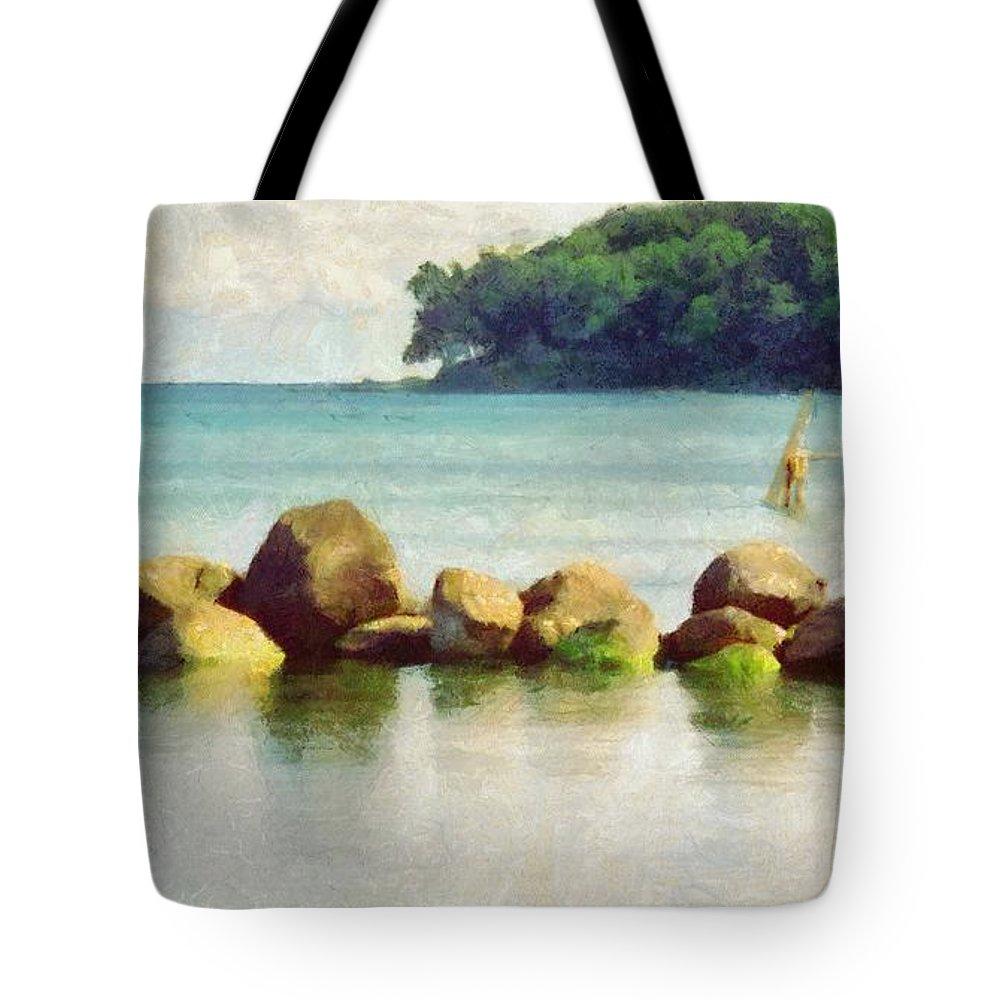 Aarhus Tote Bag featuring the painting Danish Coast On The Rocks by Jeffrey Kolker