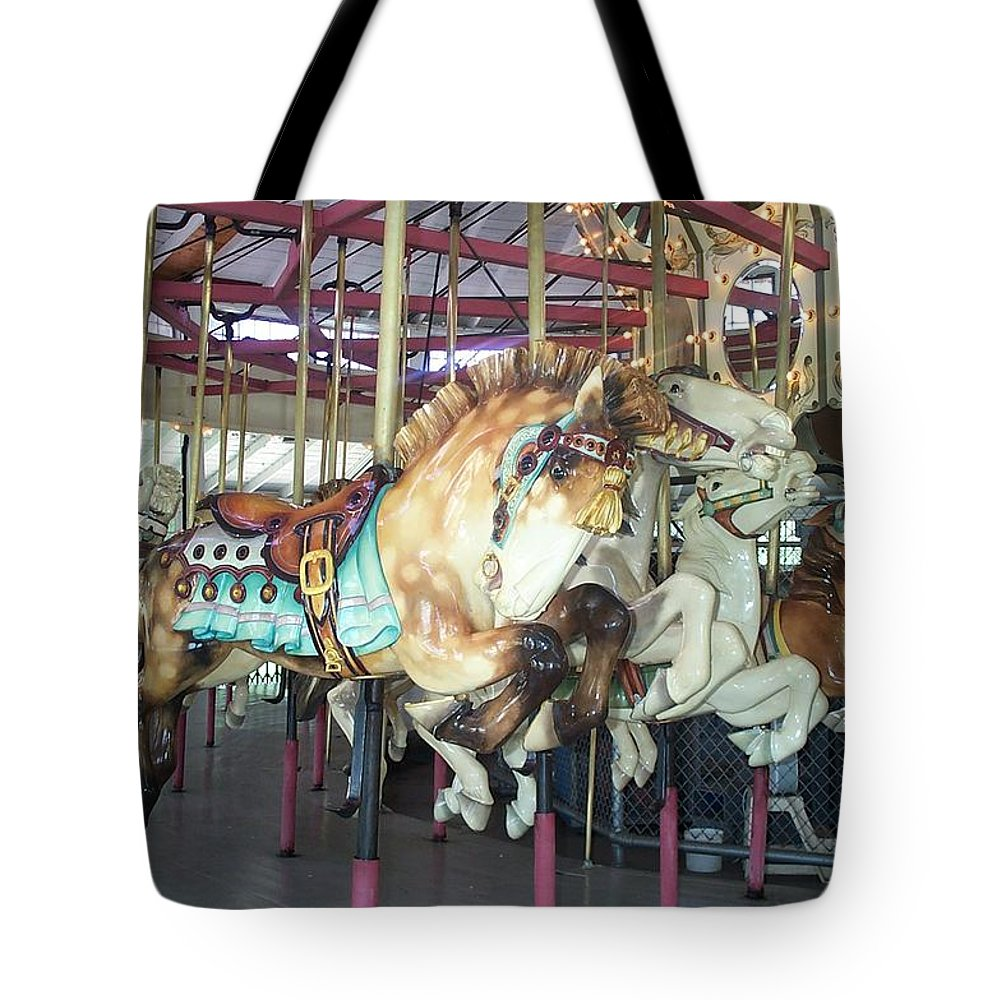 c F Johnson Park Ny Tote Bag featuring the photograph Dapled Pony by Barbara McDevitt