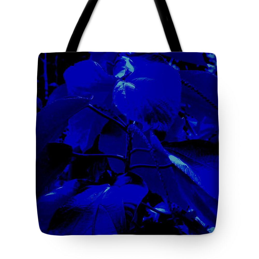 Leaves Tote Bag featuring the photograph Dark Blue Leaves by Ian MacDonald