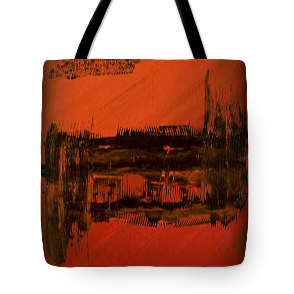 Red Tote Bag featuring the digital art Dark Movement II by Alli Cullimore
