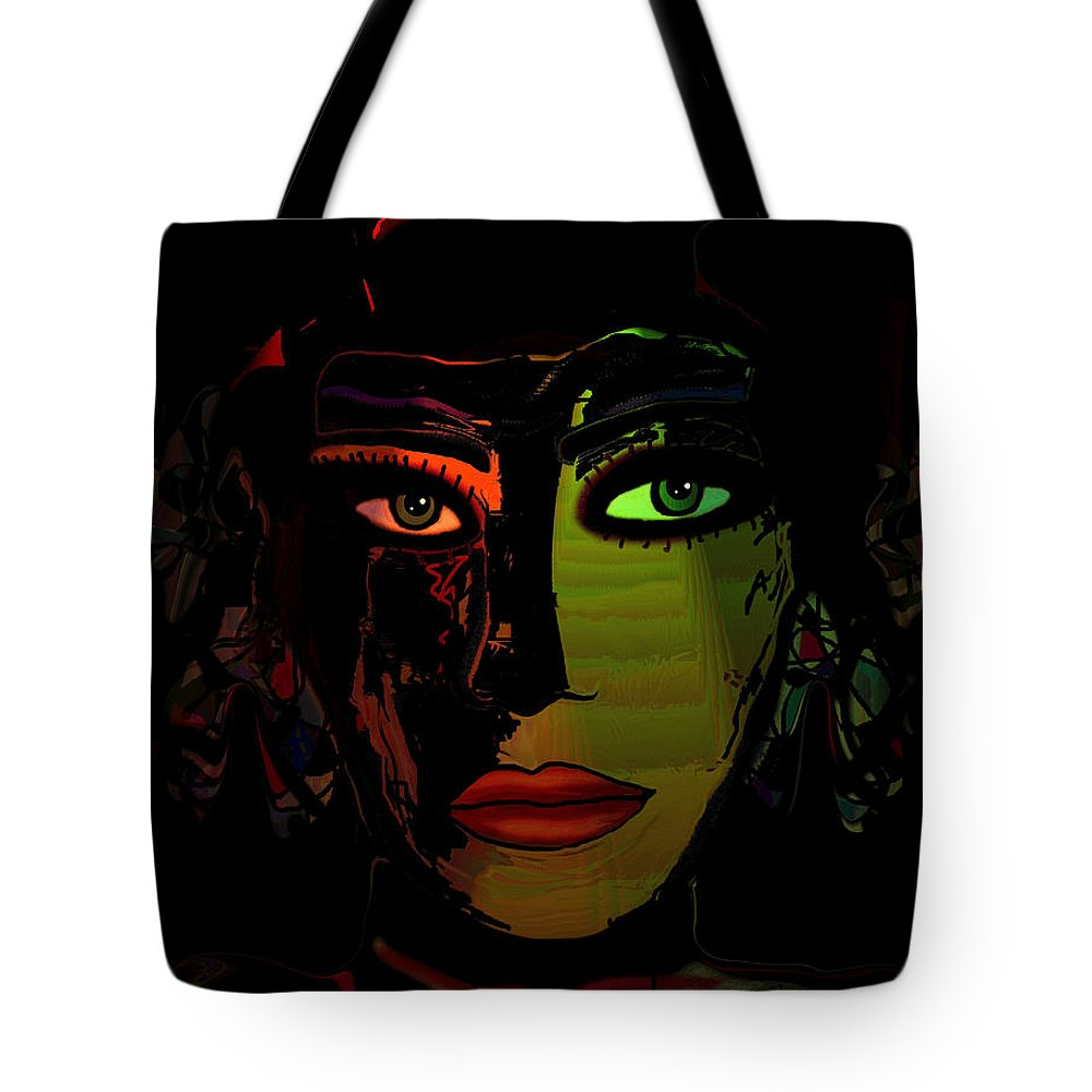 Face Tote Bag featuring the mixed media Dark Mystery by Natalie Holland