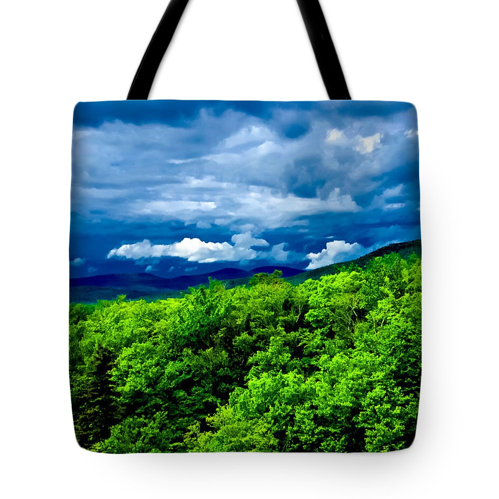 Crawford Notch Tote Bag featuring the photograph Dark Over Light by Greg Fortier