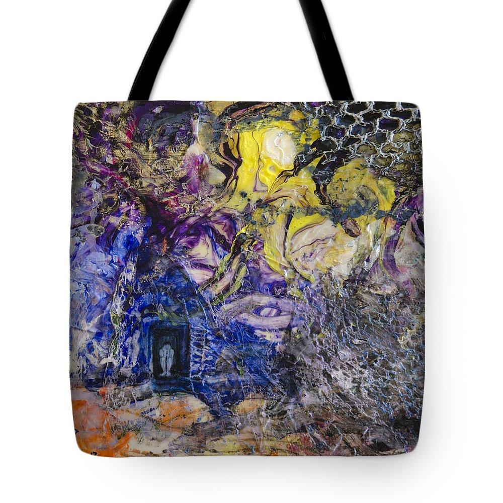 Abstract Tote Bag featuring the painting Dark Place by Ron Richard Baviello