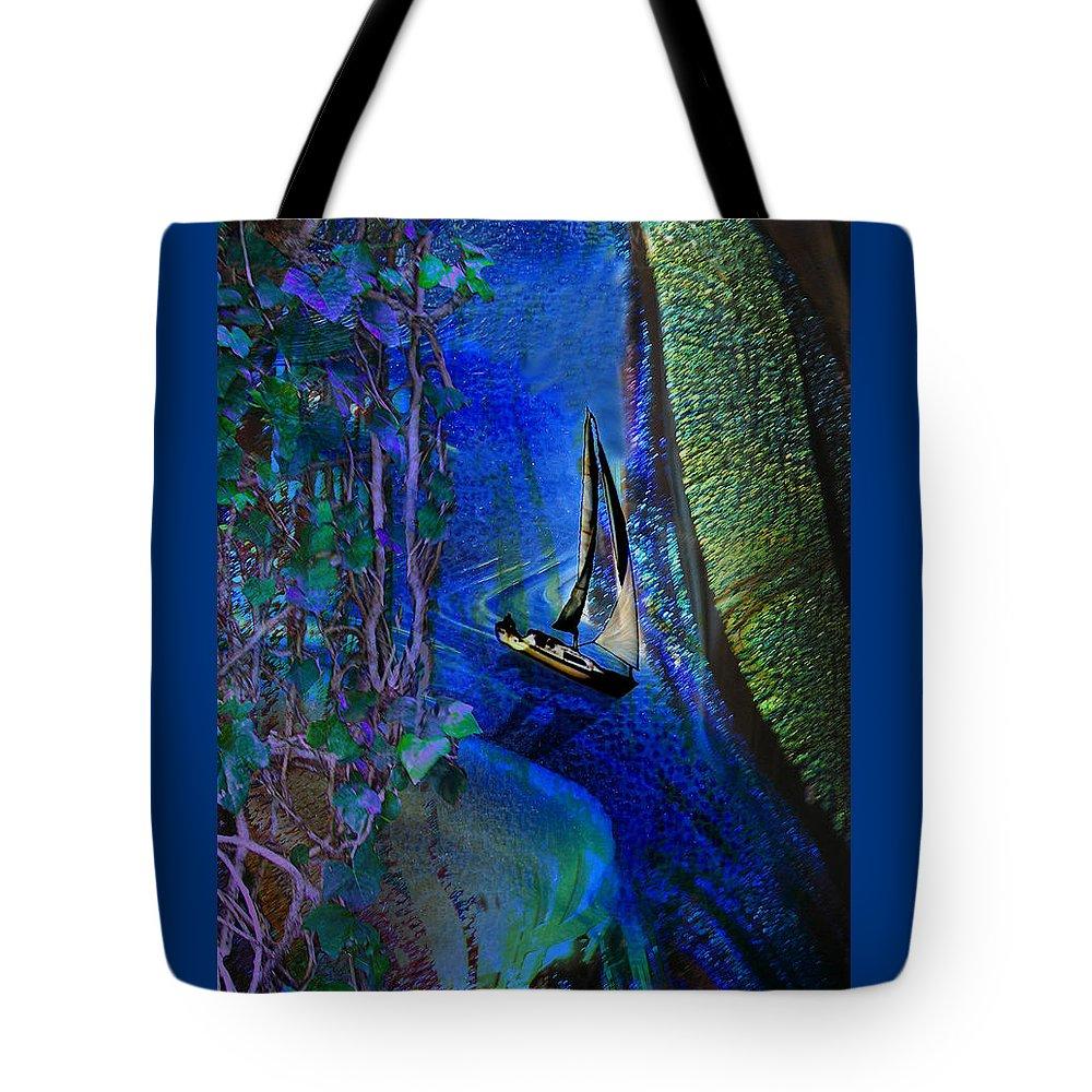 Dark River Tote Bag featuring the digital art Dark River by Lisa Yount