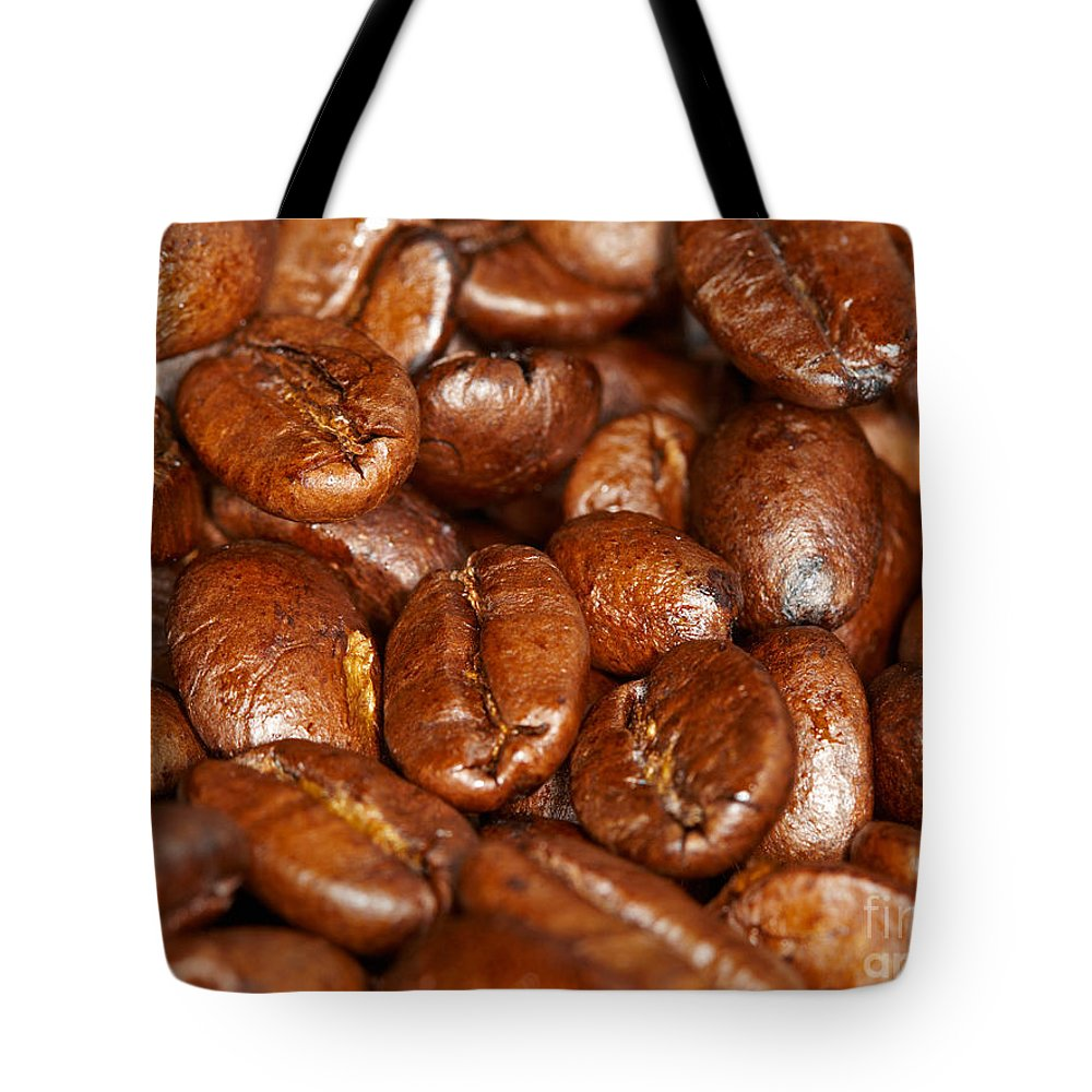 Dark Tote Bag featuring the photograph Dark Roasted Coffee Beans by Nick Biemans